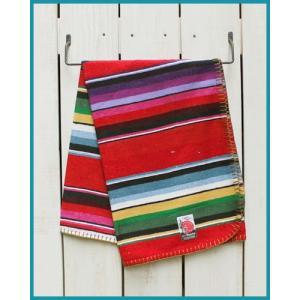 Mucho Bueno Cotton Serape Travel Blanket / Rag Red Multi 008 / ムーチョ ブエノ コットン セラぺ トラベル ブランケット レッド マルチボーダー|beardstore