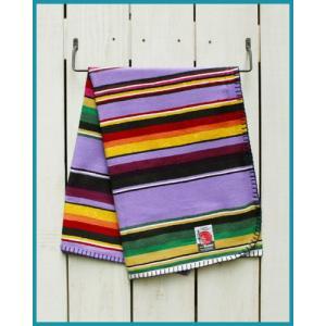 Mucho Bueno Cotton Serape Travel Blanket / Rag Lavender Multi 001 / ムーチョ ブエノ コットン セラぺ トラベル ブランケット ラベンダー マルチボーダー|beardstore