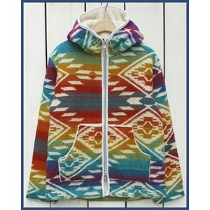 Mucho Bueno Ecuador Blanket Hooded Jacket Boa Lined Rainbow L / ムーチョ ブエノ エクアドル ブランケット フード ジャケット レインボー L ボア裏地|beardstore
