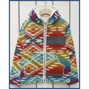 Mucho Bueno Ecuador Blanket Hooded Jacket Boa Lined Rainbow M / ムーチョ ブエノ エクアドル ブランケット フード ジャケット レインボー M ボア裏地|beardstore