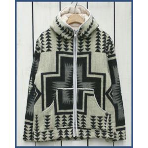 Mucho Bueno Ecuador Blanket Hooded Jacket Off White L / ムーチョ ブエノ エクアドル ブランケット フード ジャケット オフホワイト L ボア裏地|beardstore
