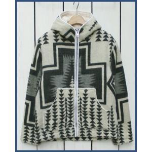 Mucho Bueno Ecuador Blanket Hooded Jacket Off White M / ムーチョ ブエノ エクアドル ブランケット フード ジャケット オフホワイト M ボア裏地|beardstore