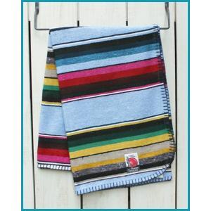 Mucho Bueno Cotton Serape Travel Blanket / Rag Sax Multi 001 / ムーチョ ブエノ コットン セラぺ トラベル ブランケット サックス マルチボーダー|beardstore