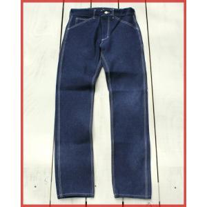Round House Special Made Slim Work Pants Blue Denim White Stitch / ラウンドハウス 別注 スリム ワークパンツ ブルー デニム ホワイト ステッチ|beardstore