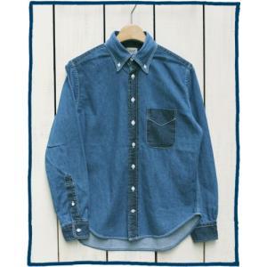 Sunlight Believer 2Tone Denim L/S B.D. Shirts vintage wash Lt Indigo / サンライト ビリーバー 2トーン デニム ボタンダウン シャツ 長袖 ライト インディゴ|beardstore