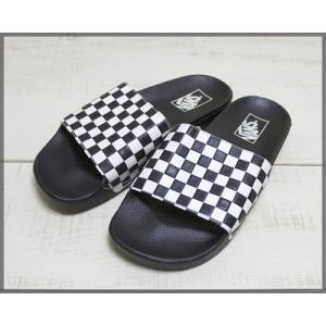 Vans Slide On Checker board White Black / バンズ スライド オン サンダル チェッカー ホワイト ブラック 白 黒 Shower Sandal シャワーサンダル|beardstore