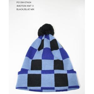 P01(プレイ) 4MOTIONビーニー3 Black*Blue MIX ヒット帽|beatnuts