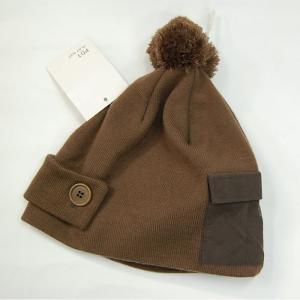 P01(プレイ) ボンボンビーニー(ポケット付) ブラウン ニット帽 正規販売店|beatnuts
