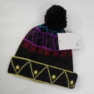 P01(プレイ) P01-04A11 BLACK-MIX ボンボンビーニー  ニット帽 正規販売店|beatnuts