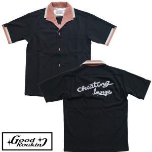 チーティングラウンジボウリングシャツ ブラック×ピンク★GOOD ROCKIN'★シャツ|beatswing