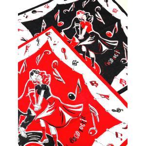 ヴィンテージスタイルバンダナ レコードホップ ブラック&レッド★GOOD ROCKIN'★マフラー/スカーフ/バンダナ|beatswing