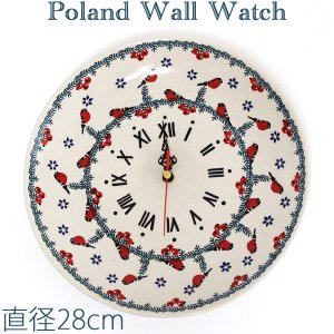 ポーリッシュポタリー/ポーランド食器 ポーランド陶器・食器 壁掛け時計 Wall Watch 陶器時計 Z144-GILE|beau-p