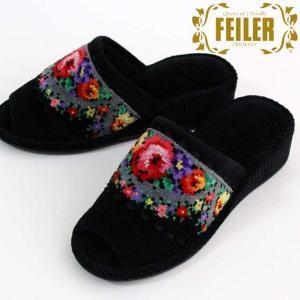 シュニール織の名門ブランド、FEILER「リズ」柄のスリッパです。落ち着いた地色に咲いている色とりど...