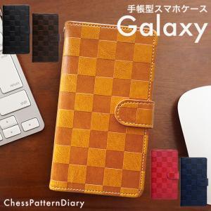 ギャラクシー Note9 Note8 S9 S8 スマホケース GALAXY 手帳型 ケース エッジ ギャラクシーS7 SC-02L SC-04J SC-03K SCV40 SCV39 市松模様 ベルト付き|beaute-shop