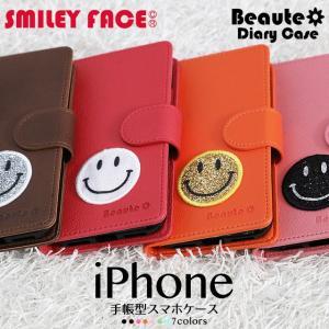 iPhoneXR iPhoneXS XSMax X iPhone8 8Plus iPhone7 iPhone6s アイフォンケース 手帳型 スマホケース スマイリーフェイス スマイリー ベルト付き|beaute-shop