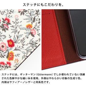 iPhone11 Pro iPhoneXR iPhoneXS XSMax X iPhone8 Plus 花柄 フラワー リバティ コットン 手帳型 スマホケース ハイブリットレザー タッセル付き ベルトなし|beaute-shop|17