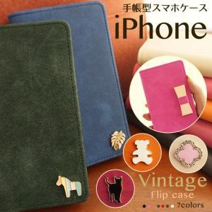 iPhoneXR iPhoneXS XSMax X iPhone8 8Plus iPhone7 iPhone6s iPhone5 iPhoneケース アイフォンケース 手帳型 スマホケース ケース ヴィンテージ モチーフ デコ|beaute-shop