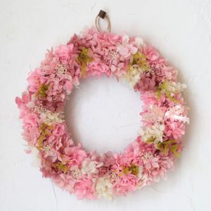 プリザーブドフラワー プレゼント ギフト 贈り物 おしゃれ 誕生日 祝い 結婚 退職 あじさい リース ピンク L|beautiful-boy