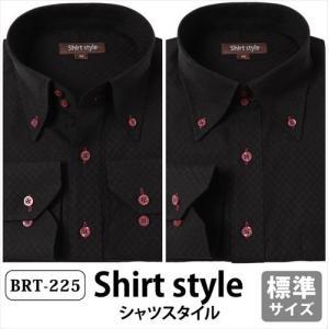 ワイシャツ 黒 メンズ おしゃれ 長袖 ボタンダウン 標準 ノーネクタイ ビジネス シャツ ドレスシ...