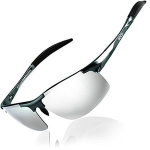 DUCO スポーツサングラス メンズ 偏光サングラス シルバー UV400保護 AL-MG合金 超軽量 運転/自転車/釣り/野球/スキー/ラ beautydawn