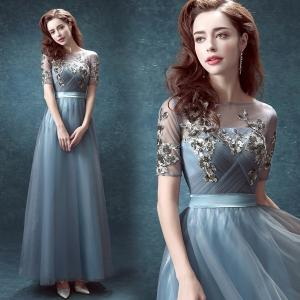 パーティードレス、ブルー、 結婚式、カラードレス、エンパイアライン、エレガント、オフショルダー、ロングドレス、ステージ衣装2494|beautydream