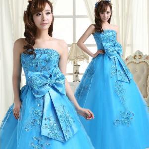 カラードレス ウェディングドレス、エンパイアドレス、ウエディングドレス、ビスチェタイプhs113|beautydream