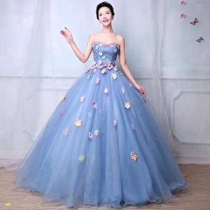 カラードレス ウェディングドレス、かわいい花、贅沢、セクシー露背、ウエディングドレス、花びら、極めて豪華、可愛い姫系 hs1670|beautydream