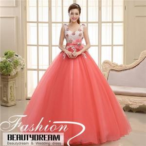 カラードレス ウェディングドレス、かわいい花、可愛い花、ウエディングドレス、エンパイアライン、極めて豪華、2色入り、可愛い姫系 hs1964|beautydream