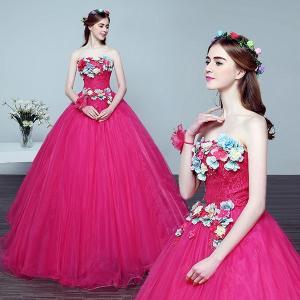 カラードレス、ウェディングドレス、パニエ付き、可愛い花びら、ウエディングドレス、エンパイアライン、姉妹衣装、エレガント、可愛い姫系hs1978|beautydream