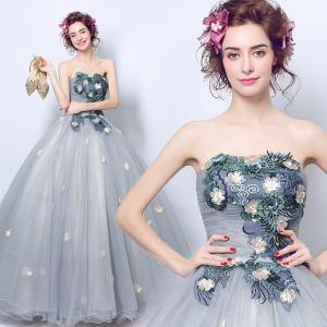 豪華なカラードレス、ウェディングドレス、可愛い花びら、高級ドレス、二次会、演奏会、ステージドレス、エレガント、可愛い姫系、エンパイアライン hs2014|beautydream