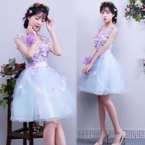 豪華カラードレス、ウェディングドレス、花嫁ミニドレス、高級ドレス、可愛い花、ウエディングドレス、極めて豪華、可愛い姫系 hs2042|beautydream