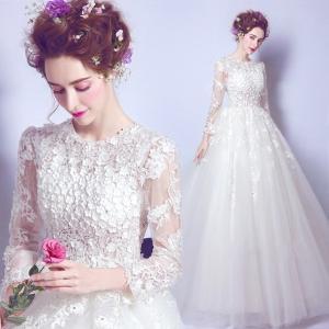 ウェディングドレス、パニエ付き、可愛いレース、二次会、ロングドレス、ウエディングドレス、エンパイアライン、長袖、着痩せ、可愛い花びらたっぷり姫系hs2168 beautydream