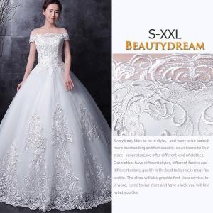 ウェディングドレス、パニエ付き、可愛い、二次会、ロングドレス、ウエディングドレス、エンパイア、着痩せ、露背、刺繍レース、姫系hs2725 beautydream