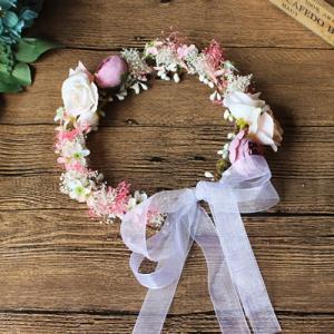 2017花冠ティアラ、ウエディング 花冠、花かんむり、ヘアアクセサリー、 結婚式、ヘッドアクセ、花輪、森ガール、写真撮り、パーティsp1115|beautydream