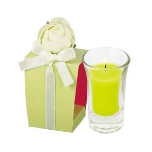 カメヤマ KAMEYAMA tous les jours(トゥレジュール) ラナンキュラスグラスキャンドル ライトグリーン|beautyfactory