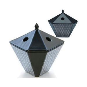 日本香堂 NIPPONKODO 縁 香炉(ゆかり こうろ) 麻文様(あさもんよう) 黒|beautyfactory