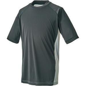 ゼット ZETT ハイブリッドアンダーシャツ ローネック半袖(限定品) [サイズ:L] [カラー:ブラック×シルバー] #BO1710G-1913|beautyfactory