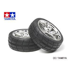 (最大500円OFFクーポン 9/30 23:00まで)タミヤ TAMIYA OPパーツ OP.955 メッキ5本スポークホイール接着済み ラジアルタイヤ2本(24mm幅・オフセット0)|beautyfactory