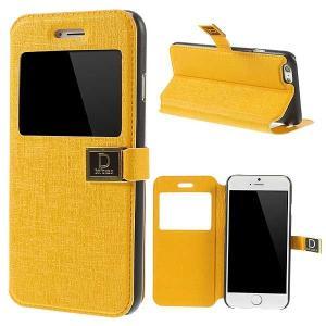 iPhone 6s / iPhone 6 iPhone6s ケース / iPhone6 ケース 4.7 inch 手帳型/横開き ビューウィンドウ レザーケースカバー スタンド機能付き イエロー|beautyfive
