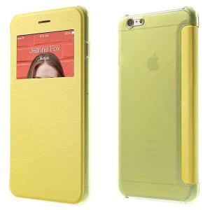 iPhone 6s Plus / iPhone 6 Plus iPhone6s Plus / iPhone6 Plus ケース 5.5 inch 手帳型/横開き ビューウィンドウ レザーケースカバー イエロー|beautyfive