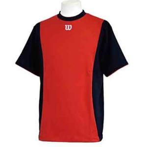 ウィルソン ハーフスリーブシャツ [サイズ:L] [カラー:ネイビー×レッド] #WTA18HS-NR WILSON|beautyfive