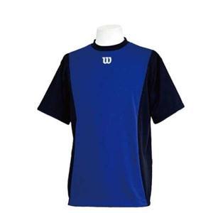 ウィルソン ハーフスリーブシャツ [サイズ:L] [カラー:ネイビー×ブルー] #WTA18HS-NB WILSON|beautyfive