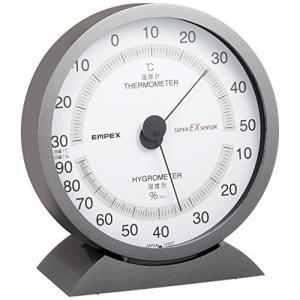 エンペックス気象計 温度湿度計 スーパーEX 温湿度計 置き掛け兼用 日本製 メタリックグレー EX-2717|beautyh