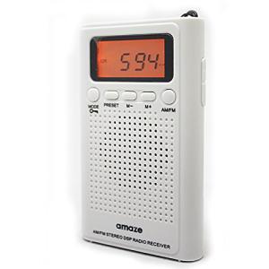薄型FM/AMハンディーポータブルポケットラジオIIホワイト〜アラームクロック・オンオフタイマー付き/デジタルチューナー/周波数スキャン可能 (ホワイト|beautyh