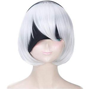 ニーア オートマタ NieR: Automata 2B ヨルハ二号B型 風 コスプレ ウィッグ かつら 仮装用 cosplay wig ヘアピース 専|beautyh