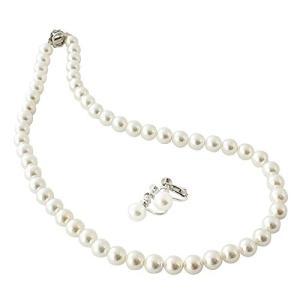 One&Only Jewellery 貝パール 8mm ネックレス & イヤリング 2点セット (ホワイト/Mサイズ)|beautyh