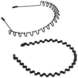 VOARGE メンズ カチューシャ スプリング ヘアバンド 鉄 波型 くし付き 滑り止め 痛くない 黒 シンプル 前髪 髪飾り 2本セット 黒|beautyh