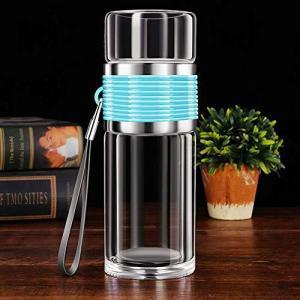 耐熱ガラス 透明 水筒 二重ガラス ケータ 水筒 ボトル ガラス水筒 イマグ 茶こし付き 男女兼用 贈り物 直飲み(青)|beautyh