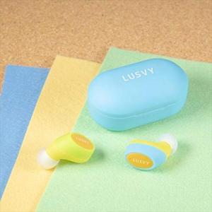 LUSVY パステルシリーズ 左右2トーンカラー完全ワイヤレスイヤホン L101TWS ブルー/イエロー|beautyh
