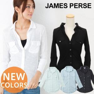 ジェームスパース レディース シャツ 7分丈 james perse Contrast Panel shirt|beautyholic
